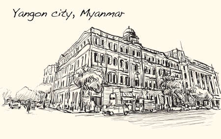 townscape: sketch cityscape of Yangon city, Myanmar show perspective view colonial building in downtown, free hand draw illustration vector