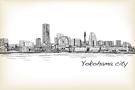coaster: city scape skyline of Yokohama in Japan free hand drawing, vector and illustration Illustration
