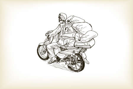 sketch transport of a heavy  load on the streets in Hanoi, free hand draw vector illustration Illustration