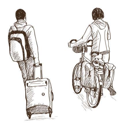 Schets van mensen reizen