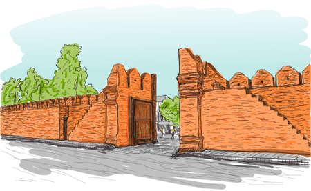 sketch of old gate Tha Phae gate in Thailand, Chiangmai free hand draw vector illustration
