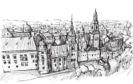 Sketch city scape Poland Krakow castle towers, free hand draw illustration vector Illustration