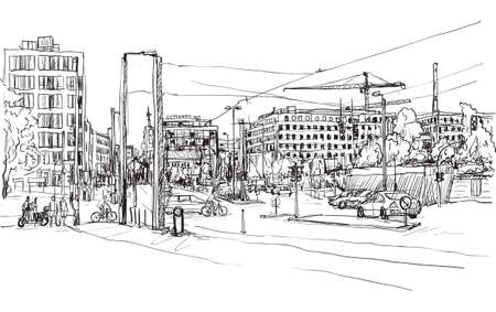 sketch city scape of Berlin street with building and peoples walk along the road, free hand draw illustration vector