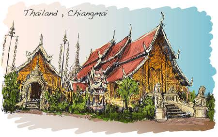lanna: sketch of Thai temple asia style in Chiangmai, Wat Mahawan temple, hand draw illustration vector