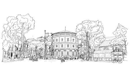 sketch of cityscape Vietnam, Hang Dau Water Tank in Hanoi, Free hand draw illustration vector
