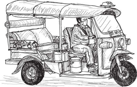 autorick: tuk-tuk skech, Traditional motor tricycle for transportation in Thai, free hand draw vector, illustration