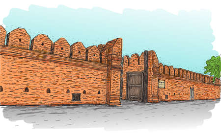 sketch of old wall gate Tha Phae gate in Thailand, Chiangmai free hand draw vector illustration