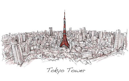 Sketch of city scape Tokyo Tower with building skyline, free hand draw illustration vector
