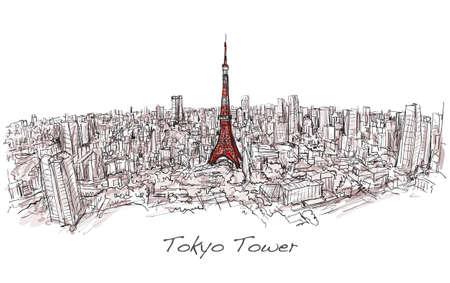 Skizze der Stadt scape Tokyo Tower mit Skyline, frei Hand zeichnen Abbildung Vektor