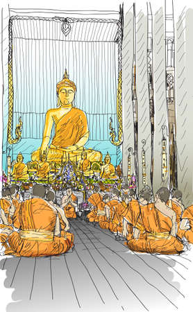 buddhist monks praying at temple in Chiangmai, Thailand, sketch free hand draw vector illustration