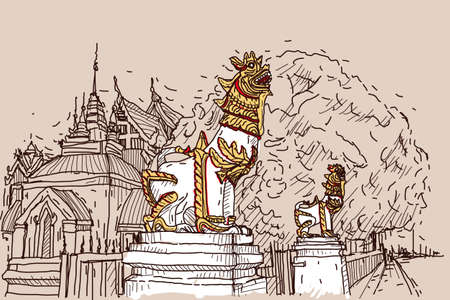 lanna: City scape drawing sketch in Thailand at temple Prasat, lion sculpture Illustration