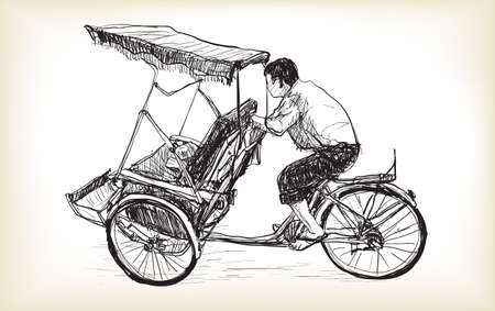 sketch of tricycle taxi in Hanoi Vietnam, free hand draw illustration vector