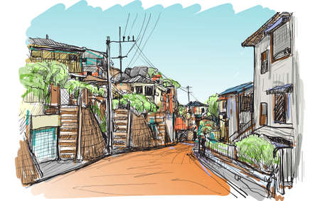 sketch city scape of local village in Yokohama Japan, illustration vector