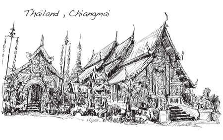 チェンマイ、ワット ・ Mahawan 寺、手描きイラストのタイ寺院アジア風のスケッチ  イラスト・ベクター素材