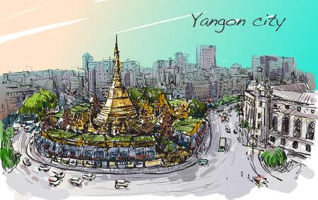 schets cityscape van Yangon, Myanmar op top Shwedagon pagoda, vrije hand teken illustratie vector Stock Illustratie