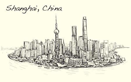 sketch cityscape of Shanghai skyline free hand draw illustration vector