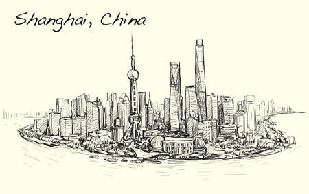 sketch cityscape of Shanghai skyline free hand draw illustration vector Illustration