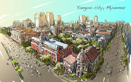 sketch cityscape of Yangon, Myanmar on topview Strand road with colonial building, free hand draw illustration vector