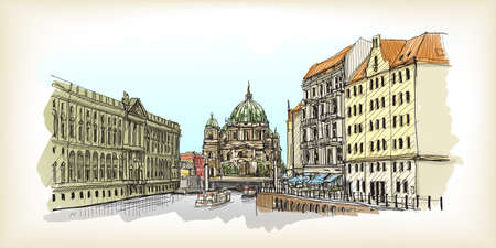City scape in Germany. Berlin Cathedral. Old building hand drawn sketch, vector illustration Illustration