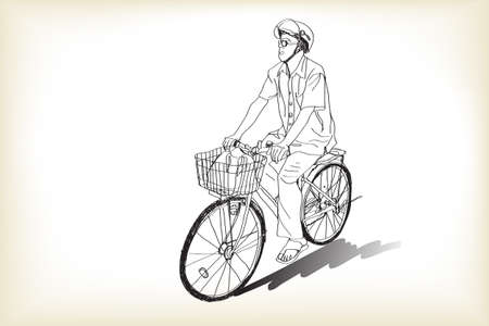 riding bicycle to market, free hand drawing, vector and illustration