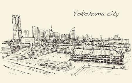 stad scape skyline van Yokohama in Japan vrije hand tekening, vector