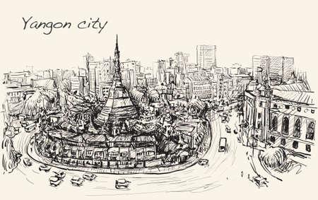 topview シュエダゴン パゴダ、フリーハンド描画イラストのヤンゴン、ミャンマーの街並みをスケッチします。