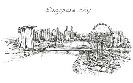 sketch city scape,of skyline, free hand draw illustration vector