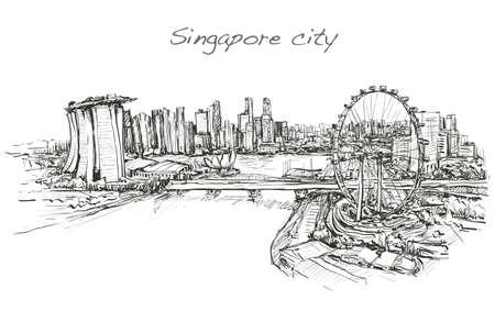 sketch città scape, di skyline, libero mano illustrazione vettoriale illustrazione Vettoriali