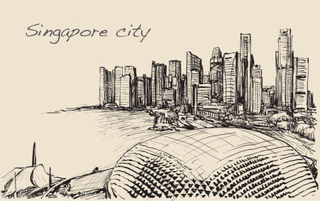 sketch cityscape of skyline, free hand draw illustration vector  イラスト・ベクター素材