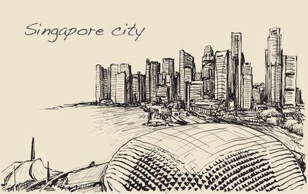 sketch cityscape of skyline, free hand draw illustration vector Illustration