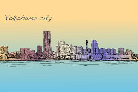 city scape skyline of Yokohama in Japan free hand drawing, vector and illustration Illustration
