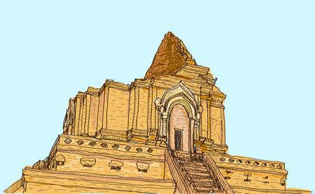 lanna: sketch old temple pagoda Wat-Ja-Dee-Luang in Thailand, Chiangmai, free hand draw