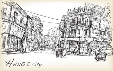 sketch of Hanoi town street and old building , free hand draw illustration vector