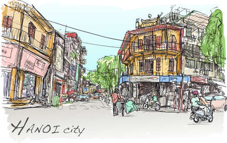 sketch of Hanoi town street market and old building, show peoples lifestyle in capital city Vietnam, free hand draw illustration vector