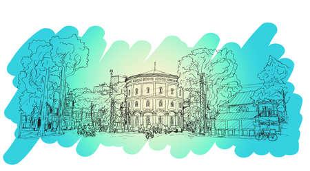 sketch of cityscape Vietnam, Hang Dau Water Tank in Hanoi, Free hand draw illustration vector Illustration