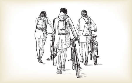 sketch of bicycle rider in Berlin, free hand draw illustration vector Illustration