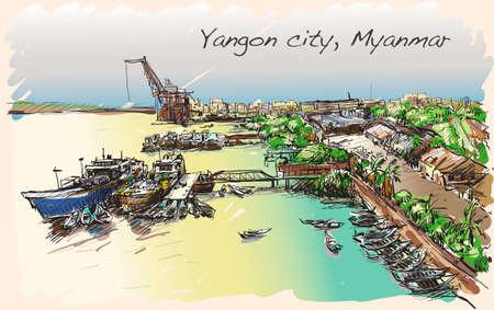 sketch cityscape of Yangon, Myanmar skyline, show Docks at Pazundaung Creek, free hand draw illustration vector Illustration