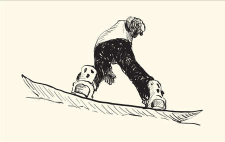 freeride: sketch of Snow board man riding, Winter Sport, Snowboarding collection, free hand draw illustration vector