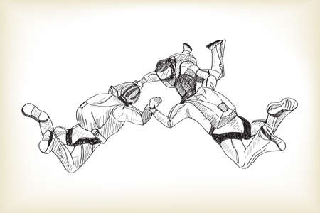 skydiving, free hand drawing sketch vector Illustration