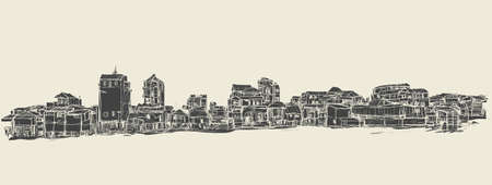 townscape: sketch of townscape in Phnom Penh slum, free hand draw illustration vector Illustration