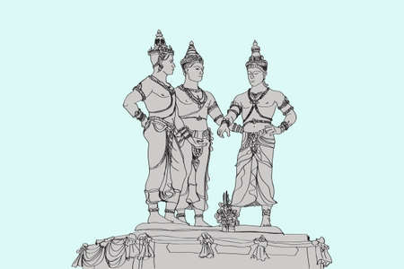 free hand skecht drawing three's monument in Chiangmai Thailand, vector illustration