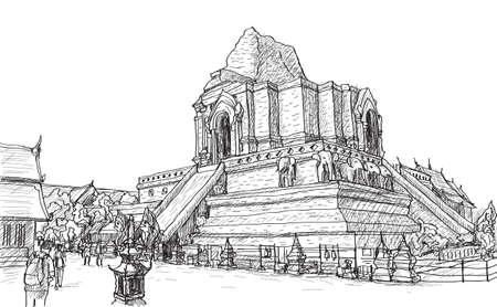 古い寺塔ワット-ジャ-ディー-ルアン タイ、チェンマイ、フリーハンド描画ベクトル図をスケッチします。
