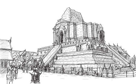 sketch old temple pagoda Wat-Ja-Dee-Luang in Thailand, Chiangmai, free hand draw vector illustration