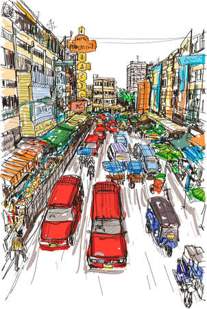 sketch Thai local market place in Chiangmai, free hand draw vector illustration