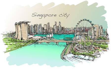 싱가포르 스카이 라인, 무료 손 그리기 그림 벡터의 도시 풍경, 스케치