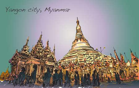 ヤンゴンでは、シュエダゴン パゴダ、フリーハンド描画イラストのバダウンマーハス イメージの町並みをスケッチします。  イラスト・ベクター素材