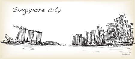 Schizzi lo scape della città dell'orizzonte di Singapore con la baia del porticciolo e la costruzione abbelliscono, vettore dell'illustrazione di tiraggio della carta bianca