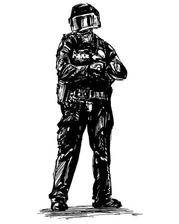 Drawing of the police is standing to protecting