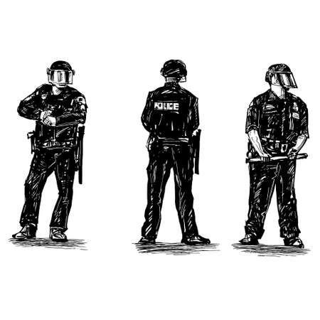Drawing of the police are standing in America