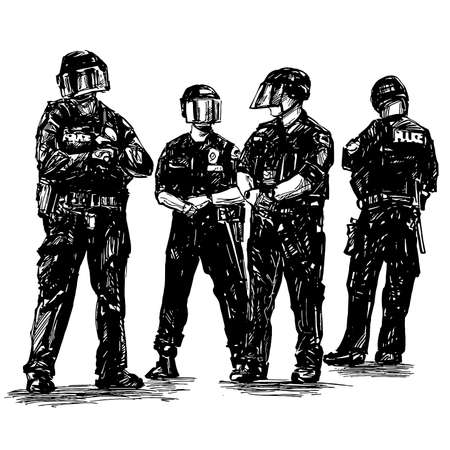 Drawing of the police in America are standing